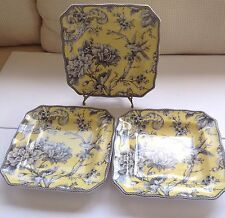 """222 Fifth """"ADELAIDE YELLOW"""" (3) Square Lunch /Salad Plates Toile Bird  8.5"""" MINT"""