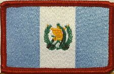 GUATEMALA Flag Tactical Patch With VELCRO® Brand Fastener Red Border #01