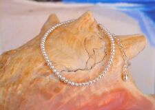 White Freshwater Seed Pearl & Italian .925 Sterling Silver Anklet 9 to 11 inches