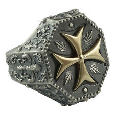 Knights Templar Maltese Gold Cross 10k & Silver Ring , Masonic Biker US size 10