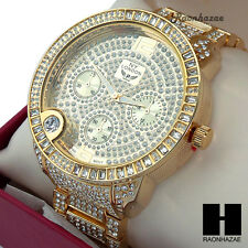 MEN NY LONDON LUXURY HIP HOP ICED OUT GOLD FINISHED LAB DIAMOND RAPPER WATCH