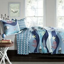 OCEAN BLUE Full Queen QUILT SET : FISH STARFISH TROPICAL BEACH HOUSE BEDDING