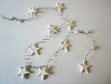 White Clay Star Garland / Bunting with Decorative Clear Beads * Xmas * Wedding