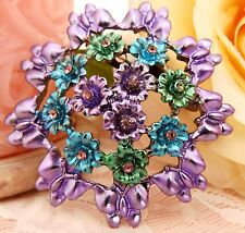 Rhinestone Crystals Flower Brooch new
