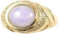 Natural Lavender Jadeite Jade Oval Stone Ring 14K Yellow Gold, Size 7