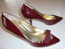 "BCBG PARIS Dark Red Leather Pointed Toe 3-1/4"" Heel Pumps Shoes Sz 8B"