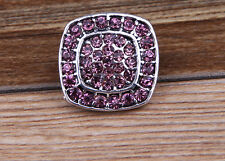 NEW Pink Rhinestone Drill Charm Chunk Snap Button fit for Noosa Bracelet BE37