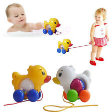 New Classic Pull Along Duck Plastic Toddler Kids Baby Learn Walk Toy Fun