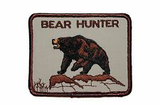 Hunter Bear Sport Hunting Outdoors Embroidered Iron On Patch Applique Vintage