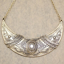 Aztec Gypsy Mayan Gold Mexican Moon Indian Carved Concho Choker Bib Necklace W7