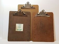 3 Vintage Paper Clip Boards Metal 9x12 9x15 Masonite Hard Back Holder Industrial