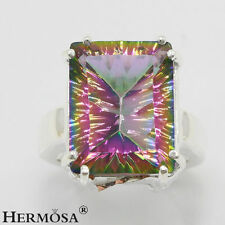 65% Off Mystical Rainbow Fire Topaz 925 Sterling Shiny Silver Charm Ring size 8