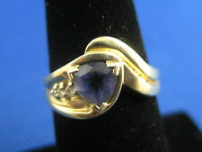 VINTAGE 14K YELLOW GOLD IOLITE OR TANZANITE TRIANGLE RING SIZE 6