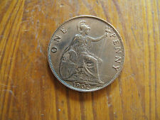 1902  EDWARD VII  BRONZE PENNY  ( VERY HIGH GRADE  )        M.B.1