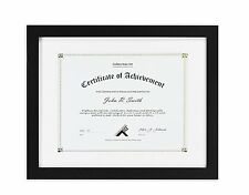 11x14 Black Document / Photo  Frame & White Mat  8.5x11 Document & Certificates