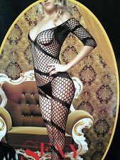 black fishnet full bodystocking sexy lingerie fancy dress hot night wear