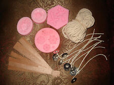 Candle Making Kit Lot Wood, Cotton Core Wicks Silicone Molds (Cross, Flowers)
