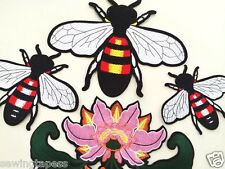 Set of 4 Large Lotus Flower Bee Fashion Embroidered Applique Patch DIY Clothing
