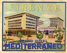 Vintage Hotel Luggage Label FIRENZE GRAND HOTEL MEDITERRANEO Florence Italy
