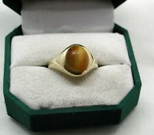 Vintage Gents Heavy 9ct Gold And Tiger's Eye Signet Ring