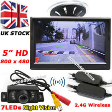 "5"" Color LCD HD Monitor Parking Rear View Kit+7LEDs Wireless IR Reversing Camera"