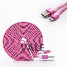 3/6/10ft Braided Flat Micro Data Sync Charger Cable Cord For iPhone 5 6S Samsung