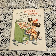 Vintage Greeting Card Christmas Dog At Cards Stand