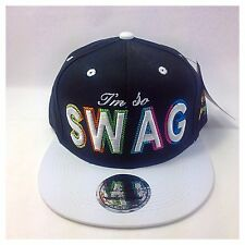 I'm So Swag Snapback Flat Peak Baseball Cap- Navy With White Peak