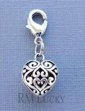 Dangle Heart Clip On Charm w/Lobster Clasp Fit for Link Chain, locket C105