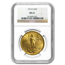 $20 Saint-Gaudens Gold Double Eagle Coin - Random Year - MS-61 NGC - SKU #32489