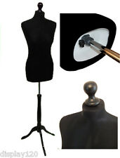 BLACK Size 8 Female Dressmaking Mannequin Window Dummy Tailors Bust Dressmaker