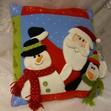Christmas Felt Fluffy Santa Snowman Penguin Sofa Pillow Decoration Very Cute
