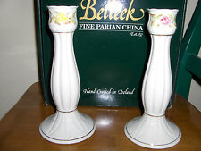 BELLEEK RARE CLASSIC ROSE CANDLESTICKS VINTAGE PARIAN CHINA FREE SHIPPING !