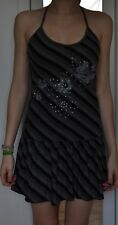 Schwarz grau gestreiftes Neckholder Kleid Grösse XS kaum getragen!