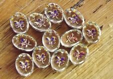 VTG 24 FLOWERS ROSES German Crystal Iridescent Intaglio Glass Charm Jewelry 12mm
