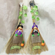 Cute Witches Besom Broom With Leaf&Witch Doll&Ghost&Spider Holloween Decor Props