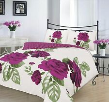 Modern Duvet Cover & Pillow Case Bedding Set ISABELLA PLUM  -Size Super King