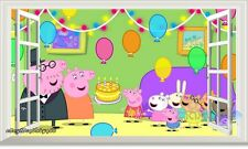 Peppa Pig Family Birthday Party 3D Window Wall Decals Kids Decor Nursery Sticker