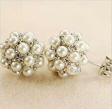 18K GP White Gold inlay with little shell pearls round ball Stud Earrings E106