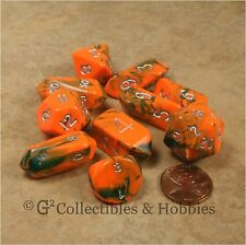 NEW 10 Toxic Orange Green Hybrid RPG D&D Game Dice Set Crystal Caste D3 D4 D20+