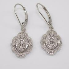 14K White Gold 0.25ctw Natural Diamond Dangle Earrings