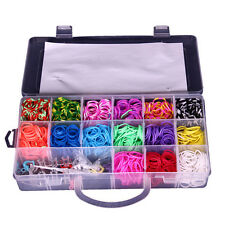 1500 Rainbow Loom Rubber Band Refill Box DIY Monster Tai Making Kit Hook S Clip