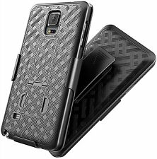 Samsung Galaxy Note 4 - HARD HOLSTER KICKSTAND CASE COVER with BELT CLIP BLACK