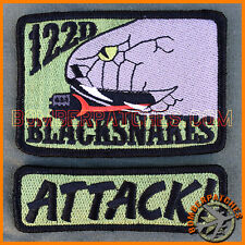 A-10 Warthog 122d Fighter Wing BLACKSNAKES Operator Patch & Tab, Gray Version