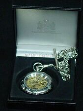 A. E. Williams pewter pocket watch Made in UK Skeleton watch mechanical WIND-UP
