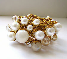 ADJUSTABLE HAND KNITTED FROM 1MM GOLDEN LEATHER CORD DIFFERENT PEARLS BRACELET