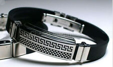 MEN BLACK SILVER RUBBER STAINLESS STEEL WRISTBAND CLASP CUFF BANGLE BRACELET