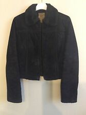 MNG Mango Leather Womens 8 10 Black Suede Jacket Coat  Fur Trim Collar EUC