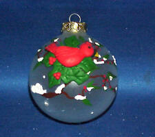 BEAUTIFUL  GLASS CHRISTMAS ORNAMENT WITH EMBOSSED CARDINAL RED BIRD MUST SEE