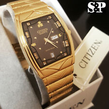 Citizen Day Date 24K Gold PT Stainless Steel Black Dial Analog Luxury Men Watch